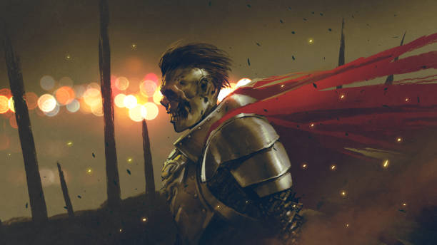 the undead knight prepares the war vector art illustration