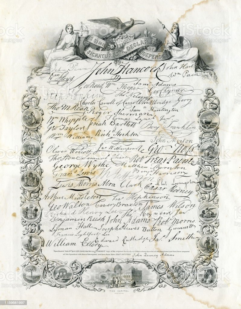 The United States Declaration Of Independence With All Signatures