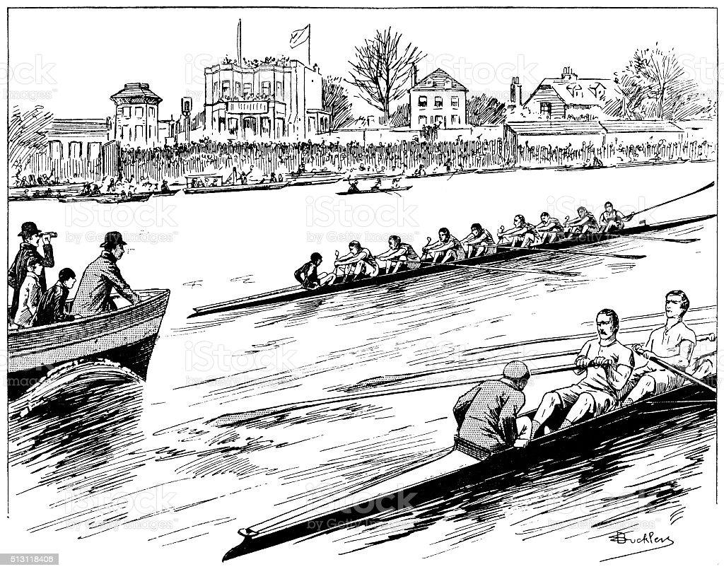The University Boat Race on the River Thames vector art illustration