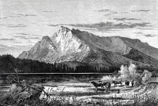 the untersberg, seen from salzburg - black and white mountain stock illustrations, clip art, cartoons, & icons