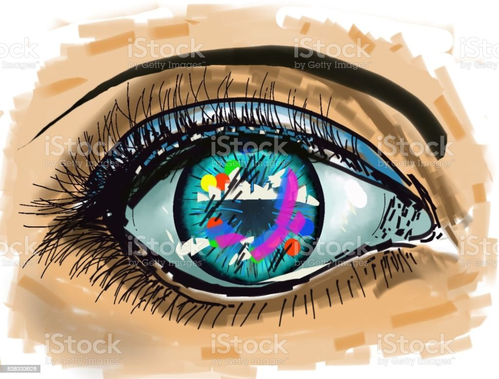The urban in the eye A beautiful impressionist artistic creation. Here the human eye, which receives the images, sends imaginary images to the exterior. The message of the eye brings together the elements of the urban space, accumulated in the unconscious, behind the eye. Art stock illustration