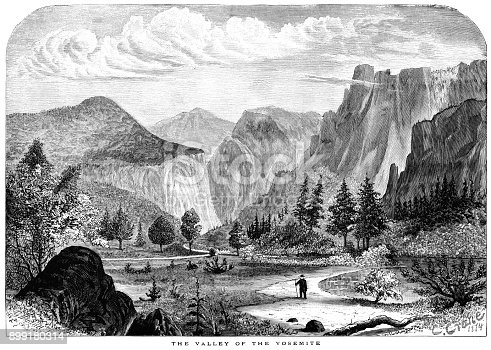 A solitary man walking in the Valley of the Yosemite, California.