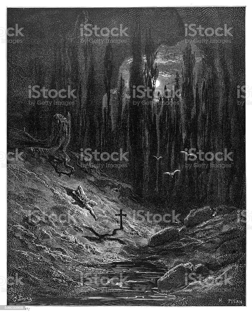 The vigil of the grave engraving 1870 vector art illustration