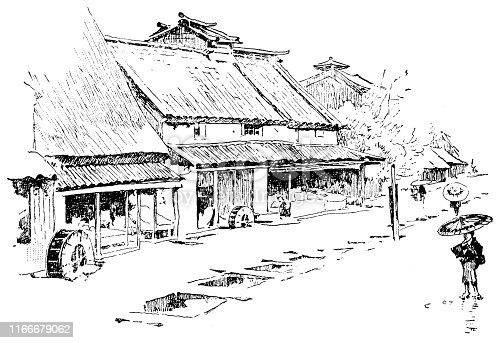 istock The Village of Hase in the Nagano Prefecture, Japan - Meiji Era 19th Century 1166679062