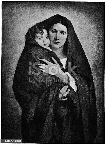 The Virgin and the Child  by Gustave-Claude-Etienne Courtois (circa 19th century). Vintage etching circa late 19th century.