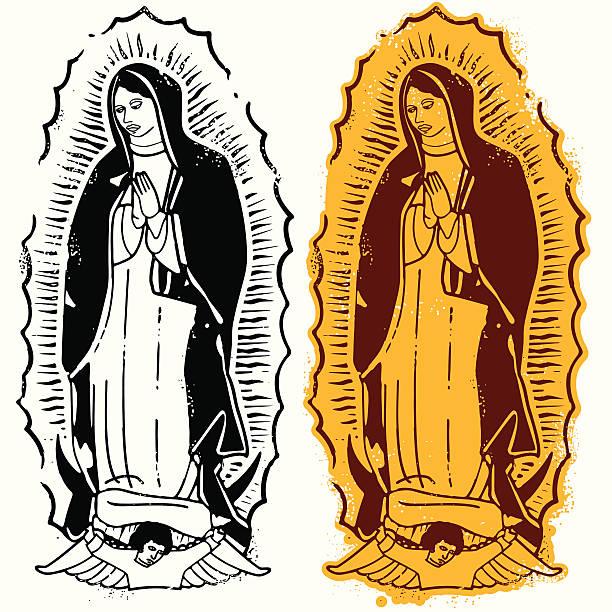 die heilige jungfrau von guadalupe - jungfrau stock-grafiken, -clipart, -cartoons und -symbole