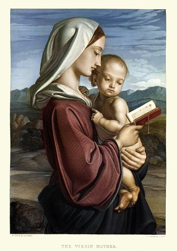 Vintage engraving of The Virgin Mother by William Dyce. Art Journal, 1855