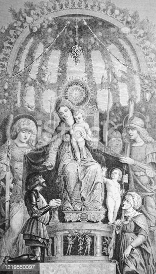 istock The Virgin of Victory by Andrea Mantegna, an Italian painter in the old book Histoire des Peintres, by M. Blanc, 1868, Paris 1219550097