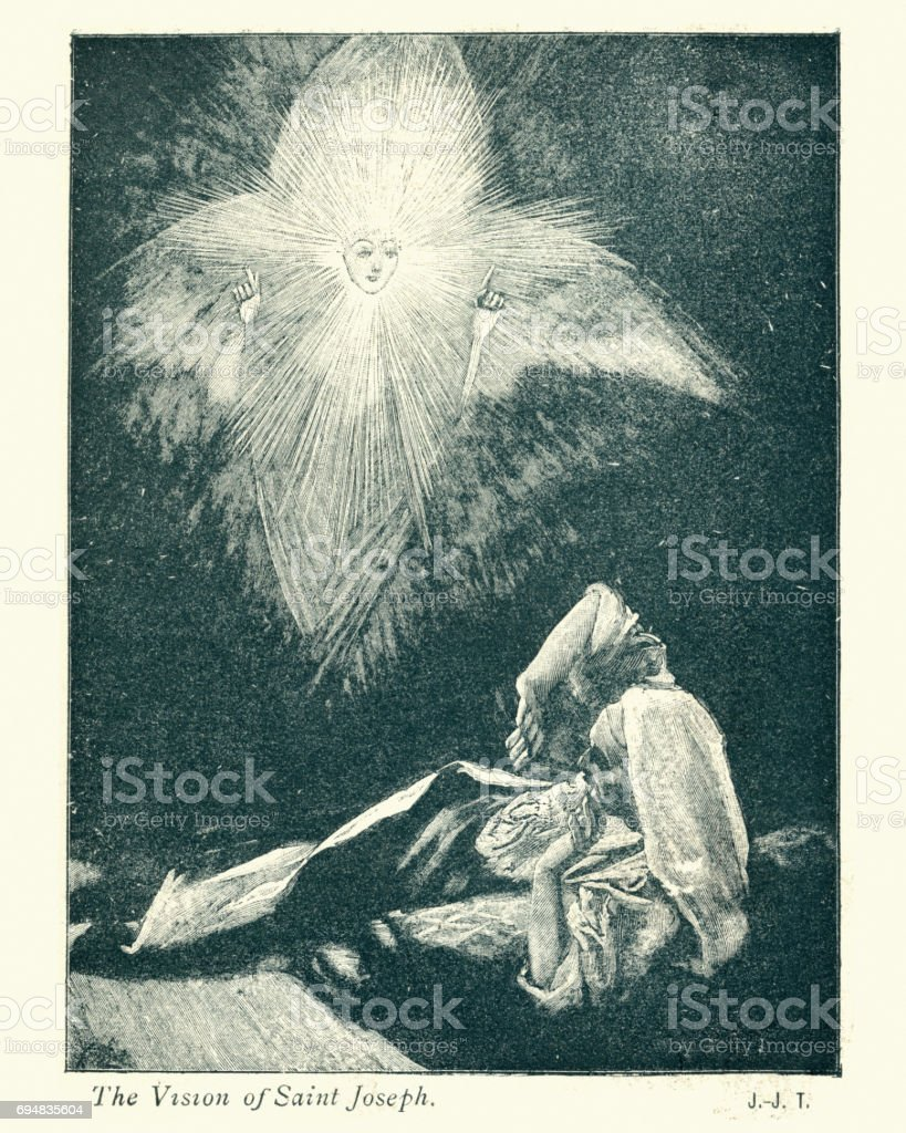 The Vision of Saint Joseph vector art illustration