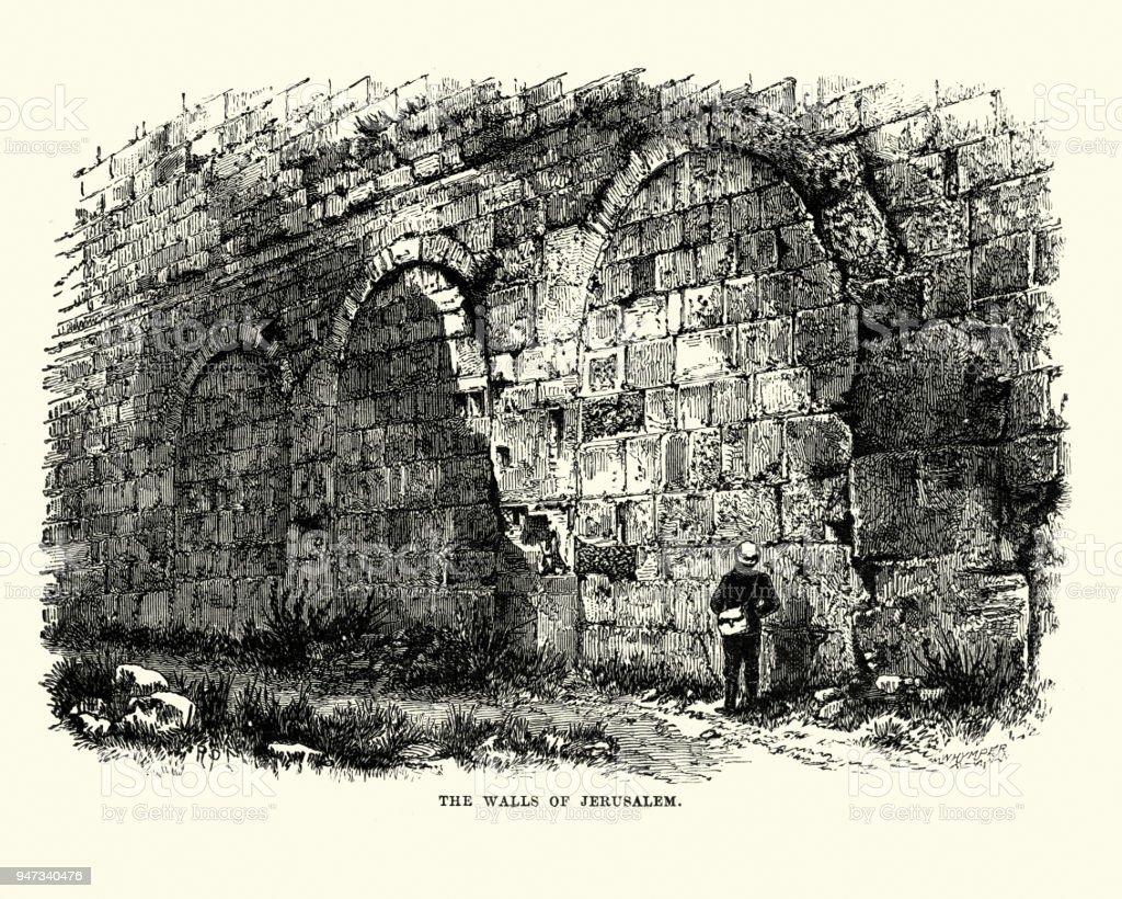 The Walls of Jerusalem, 19th Century vector art illustration
