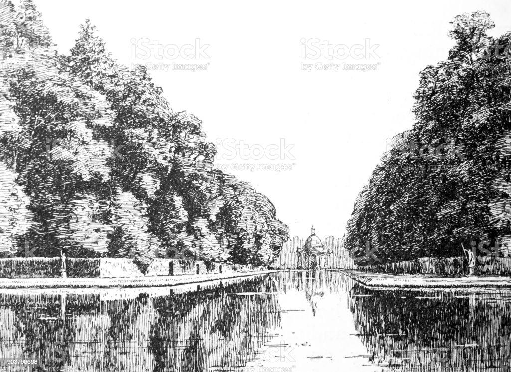 The Water Pavilion, Wrest, Bedfordshire vector art illustration