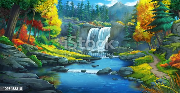The Waterfall Forest. Fiction Backdrop. Concept Art. Realistic Illustration. Video Game Digital CG Artwork. Nature Scenery.