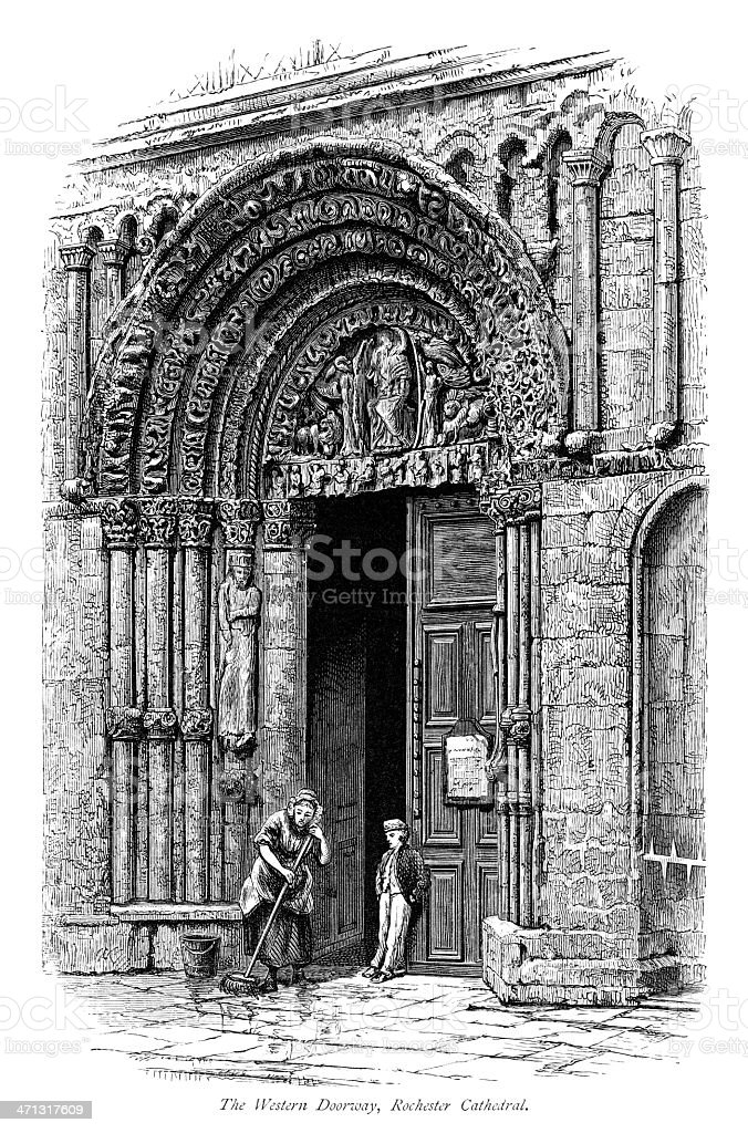 The Western Doorway, Rochester Cathedral, Kent royalty-free stock vector art