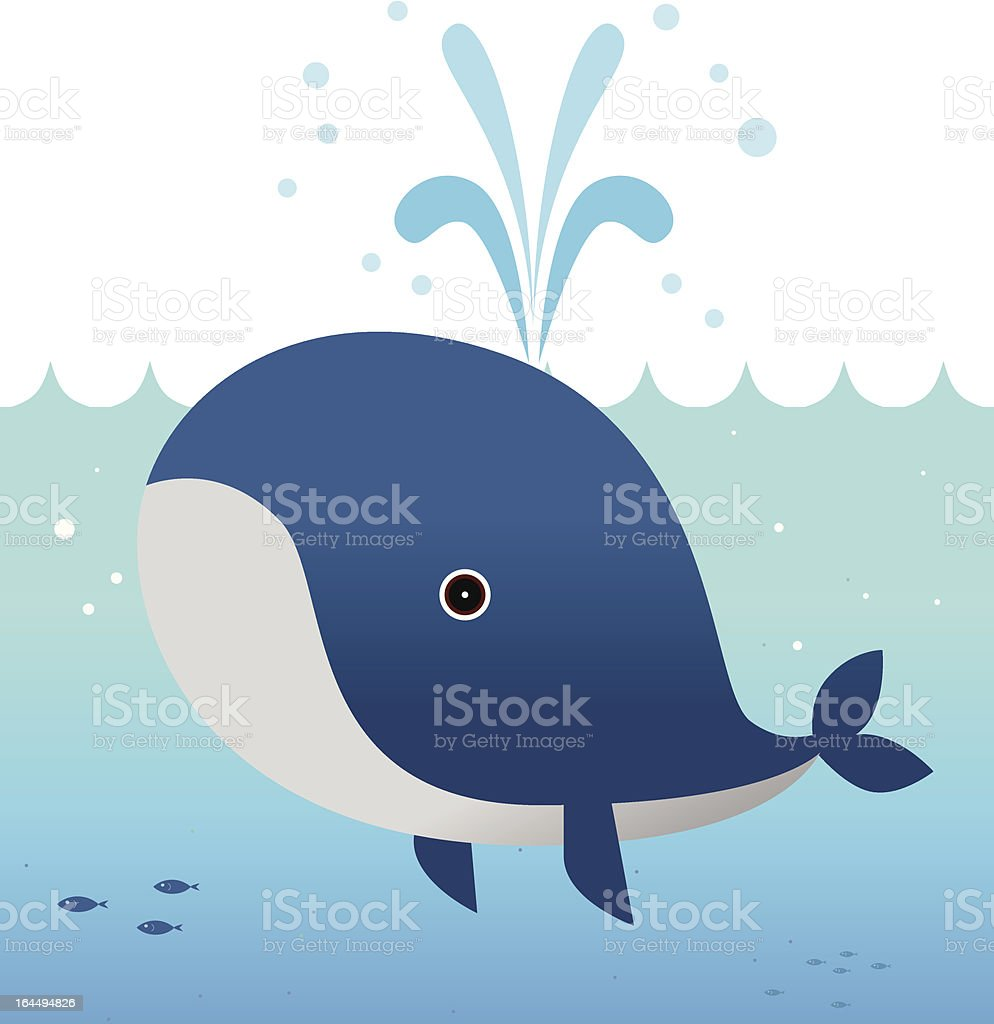 The whale is blowing vector art illustration