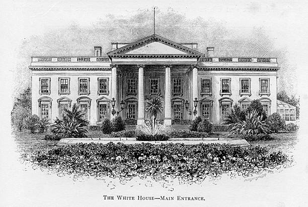 The White House Vintage engraving of the White House white house stock illustrations