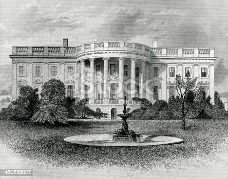 Engraving From 1881 Featuring The White House In Washington DC, USA.  The White House Is The Home Of The President Of The United States.