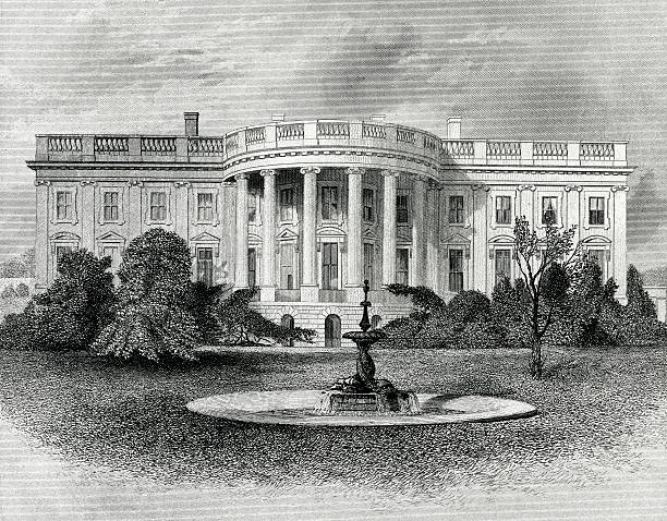 The White House Engraving From 1881 Featuring The White House In Washington DC, USA.  The White House Is The Home Of The President Of The United States. white house stock illustrations