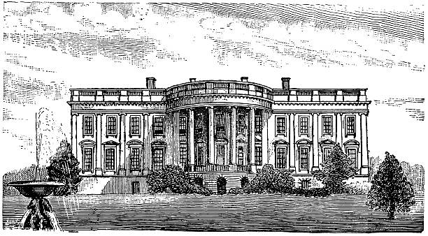 The White House Engraving from 1896 featuring the White House which is where the President of the United States lives. white house stock illustrations
