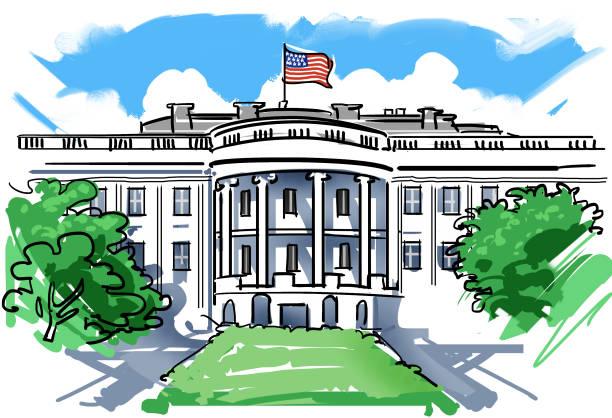 the white house - white house stock illustrations