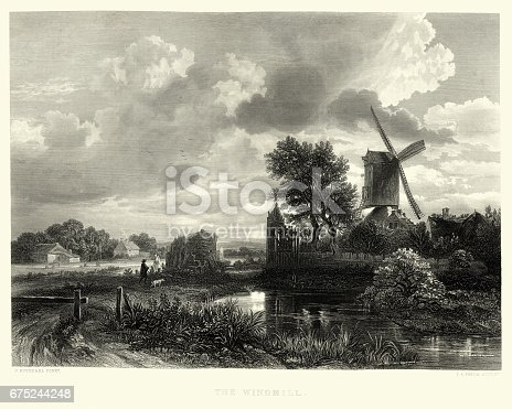 Vintage engraving of The Windmill, after Jacob van Ruisdael, 17th Century