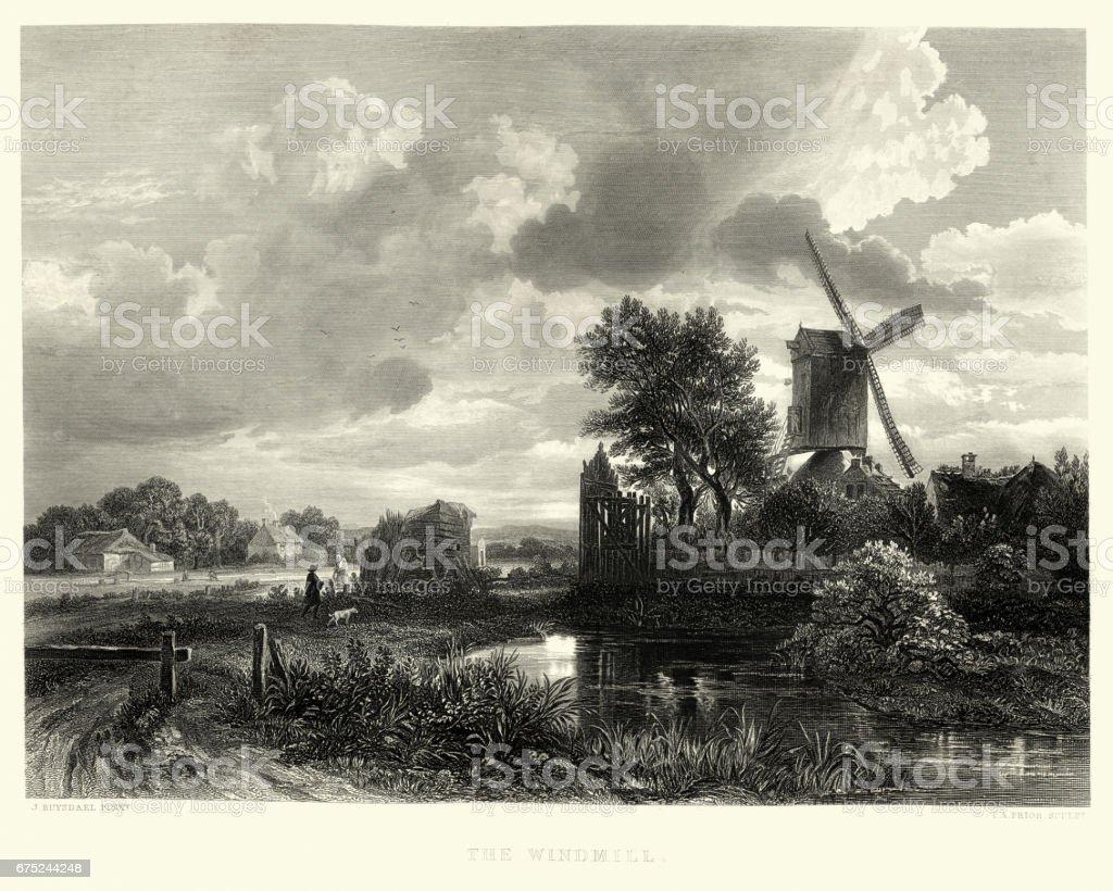 The Windmill, after Jacob van Ruisdael, 17th Centuryvectorkunst illustratie