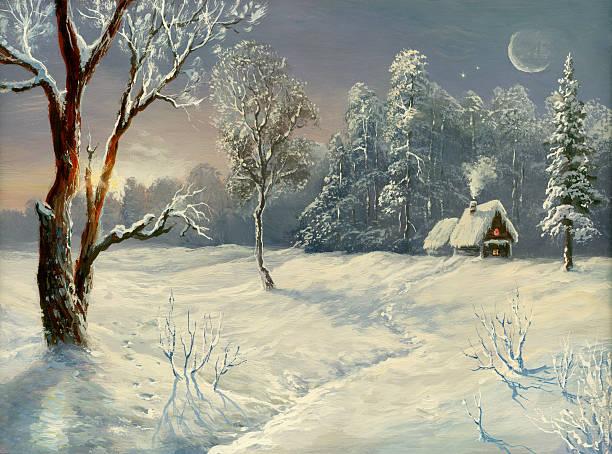 stockillustraties, clipart, cartoons en iconen met the winter sun - christmas cabin