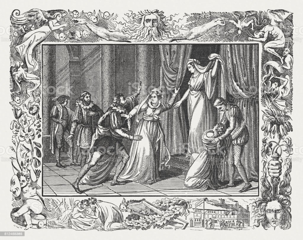 The Winter's Tale by William Shakespeare, wood engraving, published 1838  royalty-free the