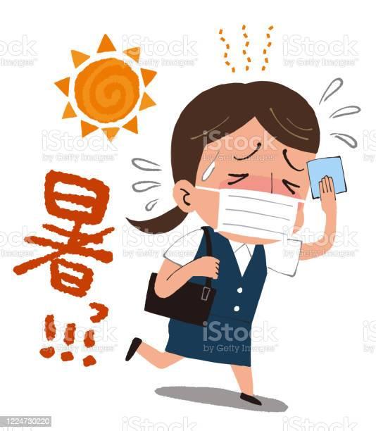 女性と太陽マスク熱中線ベクトルイラスト翻訳非常に熱い - COVID-19のベクターアート素材や画像を多数ご用意 - iStock