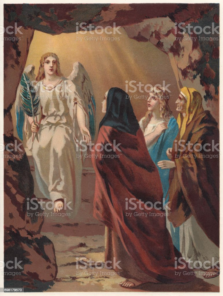 The Women at the Tomb of Christ, chromolithograph, published 1886 vector art illustration