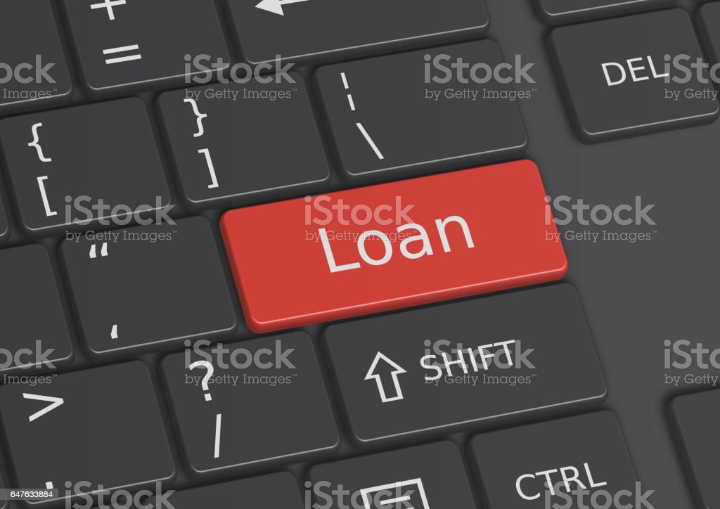 The word Loan written on the keyboard vector art illustration