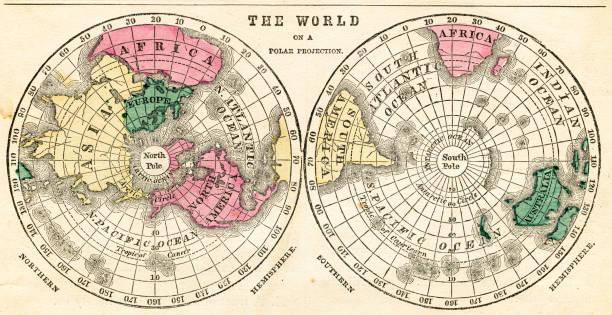 ilustrações de stock, clip art, desenhos animados e ícones de the world on a polar projection 1871 - mapa mundi