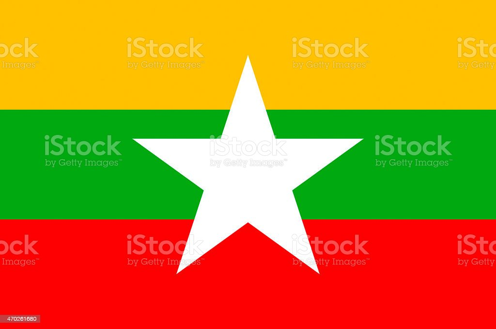 The yellow, green and red flag of Myanmar vector art illustration