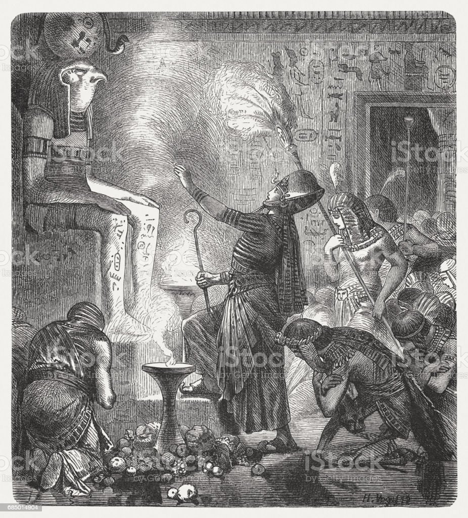 The young Pharaoh in the temple, wood engraving, published 1880 vector art illustration