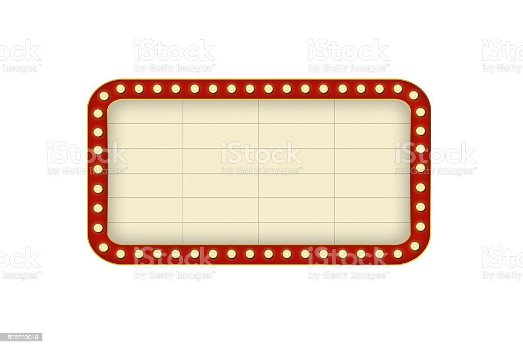 Theater marquee isolated on white background. vector art illustration