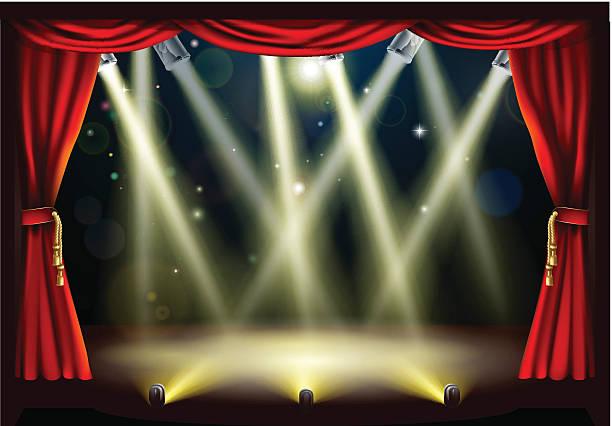 illustrazioni stock, clip art, cartoni animati e icone di tendenza di teatro fase luci - sipario