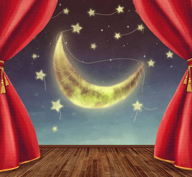 illustrazioni stock, clip art, cartoni animati e icone di tendenza di stadio teatro con luna e delle stelle - sipario