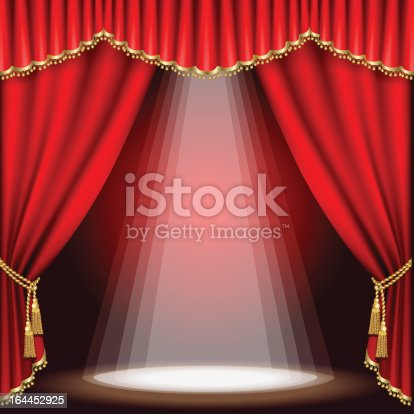 Theater Stage With Red Curtains And Spotlight Stock Vector