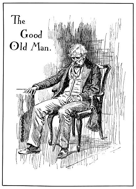 theatrical characters - the good old man - old man sitting chair drawing stock illustrations, clip art, cartoons, & icons