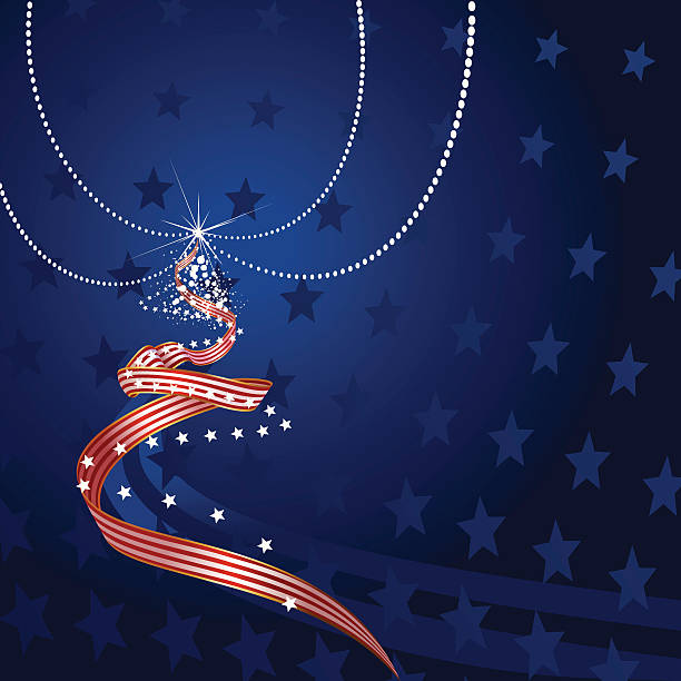 Patriotic Christmas Background.Best Patriotic Christmas Illustrations Royalty Free Vector
