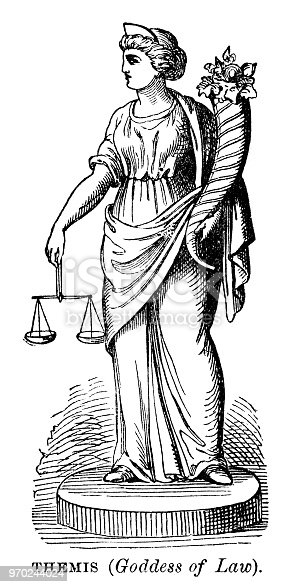 Themis, goddess of law - Scanned 1882 Engraving