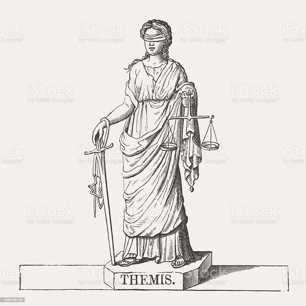 Themis, the ancient Greek Titaness, wood engraving, published in 1878 vector art illustration