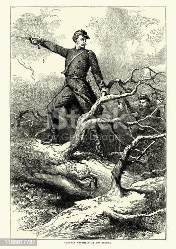 Vintage engraving of Captain (Major) Theodore Winthrop at the Battle of Big Bethel. The Battle of Big Bethel was one of the earliest land battles of the American Civil War. It took place on the Virginia Peninsula, near Newport News, on June 10, 1861. Major Theodore Woolsey Winthrop (September 22, 1828 – June 10, 1861) was a writer, lawyer, and world traveller. He was one of the first Union officers killed in the American Civil War.