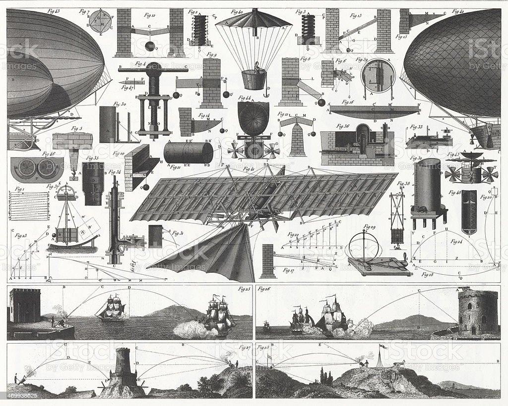 Theory of Flight Engraving vector art illustration