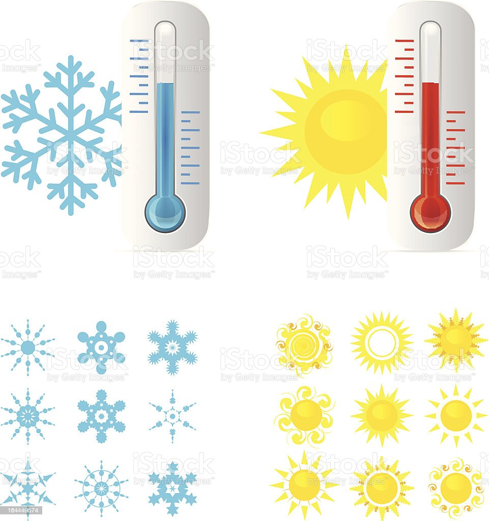 Thermometer Hot And Cold Temperature royalty-free stock vector art