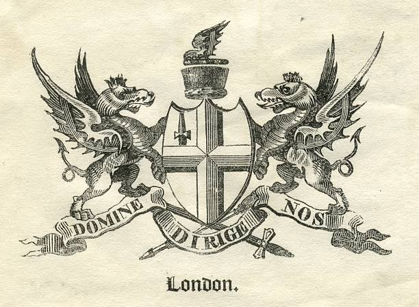 Armorial City of London 19th century vector art illustration