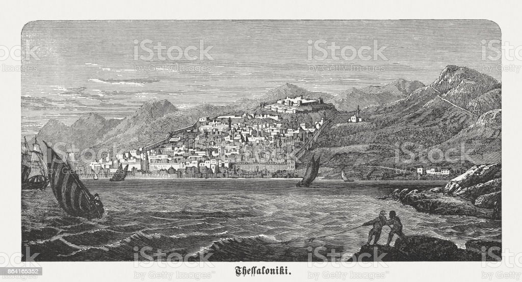 Thessaloniki, Macedonia, second-largest city in Greece, wood engraving, published 1886 royalty-free thessaloniki macedonia secondlargest city in greece wood engraving published 1886 stock vector art & more images of 19th century