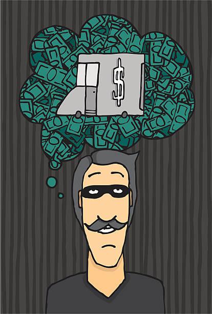 Thief thinking of a heist vector art illustration