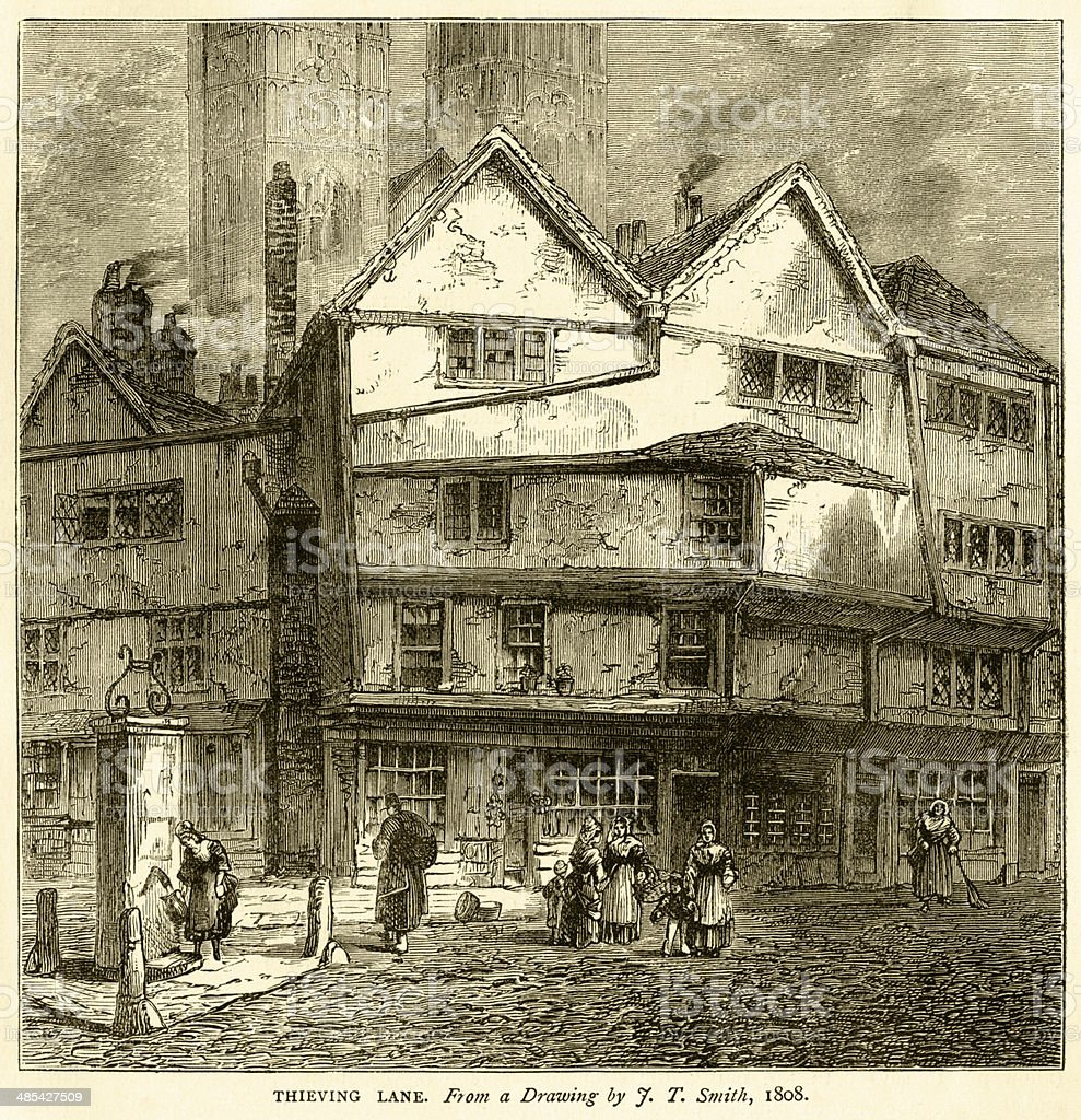 Thieving Lane, Westminster, from a drawing by JT Smith in 1808....
