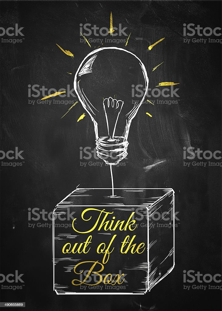 Think out of box sketch bulb vector art illustration