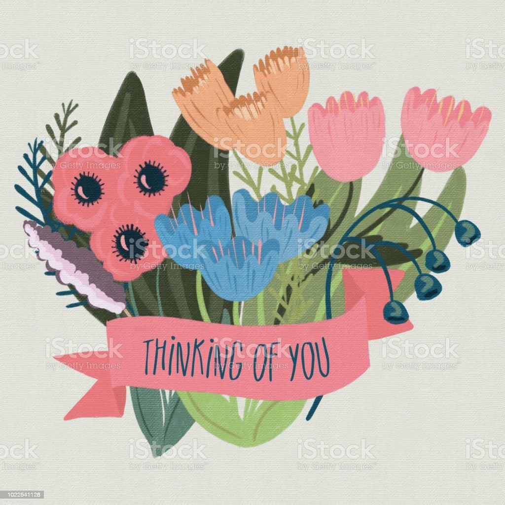 Pensamiento de la bandera con un ramo Floral ilustración de pensamiento de la bandera con un ramo floral y más vectores libres de derechos de amapola - planta libre de derechos